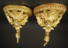 Pair Carved Wood Gold Leafed Sconces