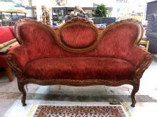 Velvet Upholstered Carved Victorian Antique Sofa