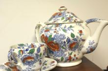 English Oversized Tea Pot & Mug With Under Dish