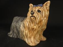 Signed Porcelain Painted Dog Figure