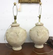 Pair KREISS Stone composite table lamps