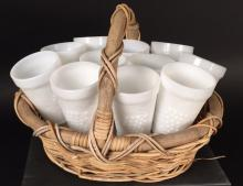 Group Basket 11 Grape Motif Milk Glasses