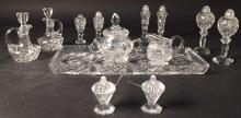 Group Lot cut Crystal Condiment Vessels