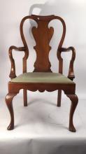 Queen Anne Slat back Walnut Armchair