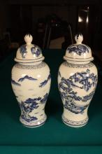 Pair Chinese painted Blue and White Ginger Jars