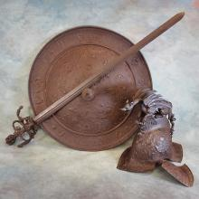 19th C Style Sword, Shield, & Helmet