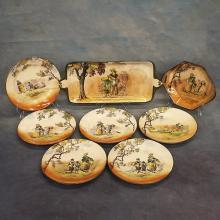 8pcs Royal Doulton Plates & Platters; Old English Scenes, The Gleaners