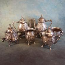 6pc Repoussé Quadruple Silverplate Tea/Coffee Service by Reed & Barton
