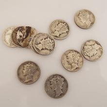 11 Mercury Dimes; 18D, 27, 34, 36, 40, (2)42, 43, 44, & (2)45