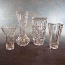 4 Assorted Crystal Vases: 2 Waterford & 1 Orrefors (6