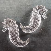 Pr Waterford Crystal Seahorse Hand Coolers in Box   3.5
