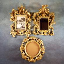 3 Finely Carved & Gilt Wood Frames (1 as mirror) by Italian Artists C&A Schwicker (Florence, Italy)