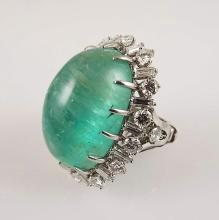 Platinum Ring w/Approx 50.0ct Cabochon Columbian Emerald & Approx 6.4ctw Round and Baguette Side Diamonds - Appr $43,500.00