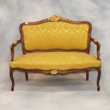 Carved & Upholstered Victorian Settee