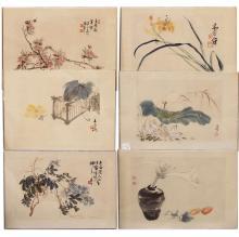 6 Original (stamped & Signed) Asian Watercolors