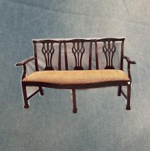 Late 19th/Early 20th C Triple-back Mahogany Upholstered Settee