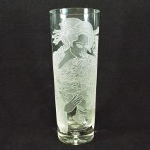Asian Etched Glass Vase  11.5