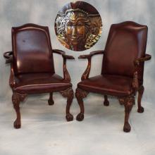 Pr Heavily Carved Mahogany & Leather Upholstered Chairs