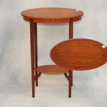 English Satinwood Painted Oval Side Table   28