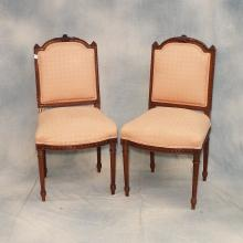 Pr. of French Upholstered and Carved Wood Side chairs, 19th century