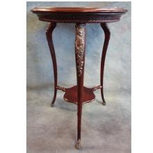 Small Occasional Table w/Metal Mounts & Foot Covers, Early 1900s  17.25