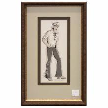 3 Original Mid Century Fashion Paintings by Ben Hampton - Bell Bottoms & Short Vest (10.75