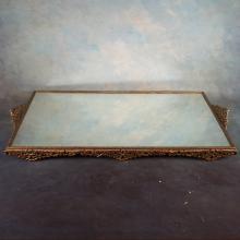 Brass Mirrored Dresser Tray & 4pcs asst'd brass