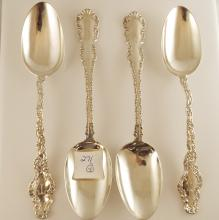 4 19th C Sterling Silver Serving Spoons, 8.25