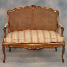 19th century French Louis XV Gilt Wood and Caned Settee on Cabriole Legs, 48.5