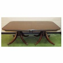 20th century Regency-style Baker Furniture Co. Mahogany Double Pedestal Dining Table w/ 1 Leaf, 116