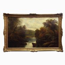 Oil on Canvas Landscape by British Artist Wm Mellor (1851-1931), signed Lower Right, 29.5