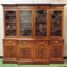George III -style English Mahogany Breakfront w/ Mullion Glazed Cupboard Doors, 90