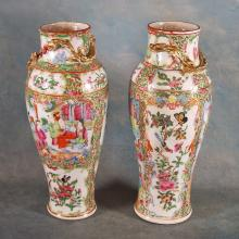 Pr. 19th C Chinese Export Rose Medallion Vases