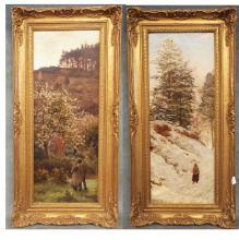 Pr. of Oil Paintings on Canvas, c.1874-- by British Artist Tristram James Ellis, 1844-1922, Spring & Winter, 10