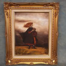 Oil on Canvas of Caped Girl - Signed Gary Sheorin   16