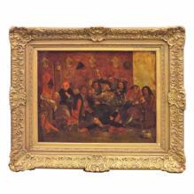 18th C Painting of a European Tavern Scene  38.5