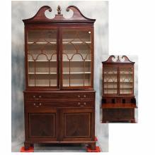 19th century Georgian-style Mahogany Bureau Bookcase w/ Satinwood Inlay, 98