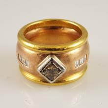 Gentleman's 14K Rose, 24K Yellow, & Platinum Bezel w/1.0ct Brilliant Cut Brown Diamond & Approx 0.50ctw Diamonds - Appr $5200.00