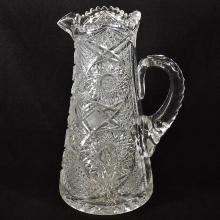 19th C Ornately Cut American Pitcher  12