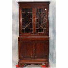 18th C George III Mahogany Corner Cabinet w/Astragal Glazed Door, 79.5