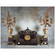 19th C Black Marble & Gilt Bronze Mantle Clock & Pair of 5-light Candelabras