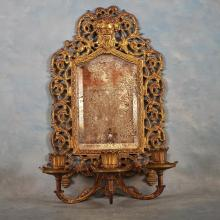 Brass Wall Sconce w/Mirrored Back, 16 x 10