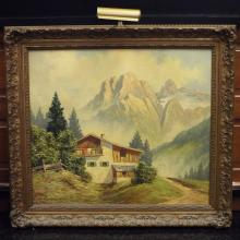 19th century Oil on Canvas of a European Landscape, signed, M. Josberg, 39