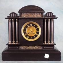 19th century Marble Mantle Clock w/ Bronze Decorations
