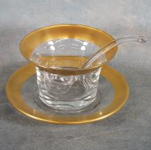 Crystal & Gold Rimmed Mayonnaise Bowl w/Glass Ladle