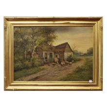 19th century continental Oil on Canvas, Farmer w/ Flock of Sheep w/ cottage, signed Van Velde