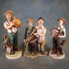 3 Signed Porcelain Hillbilly Figure - Some repairs (tallest 13.5