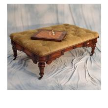 Oversized Button Tucked Ottoman w/2 Drawers & Hidden Game Board on Carved Mahogany Base  56