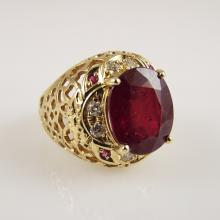 14K Y.G. Ring w/6.42ct Center Ruby, 0.12ctw Side Rubies, & 0.32ctw Diamonds - Appr $11,200.00