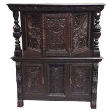 19th C English Oak Jacobean Carved Cupboard   52